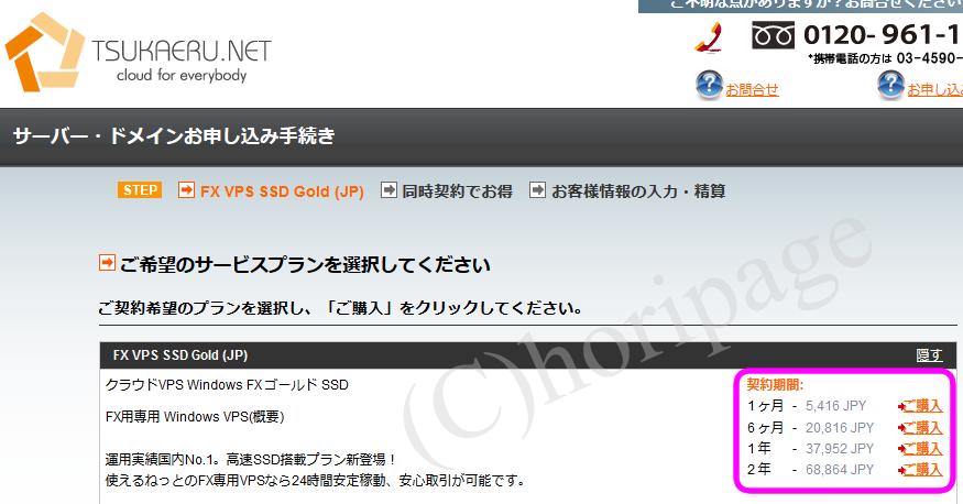 FX専用VPS使えるねっとの申し込み画面