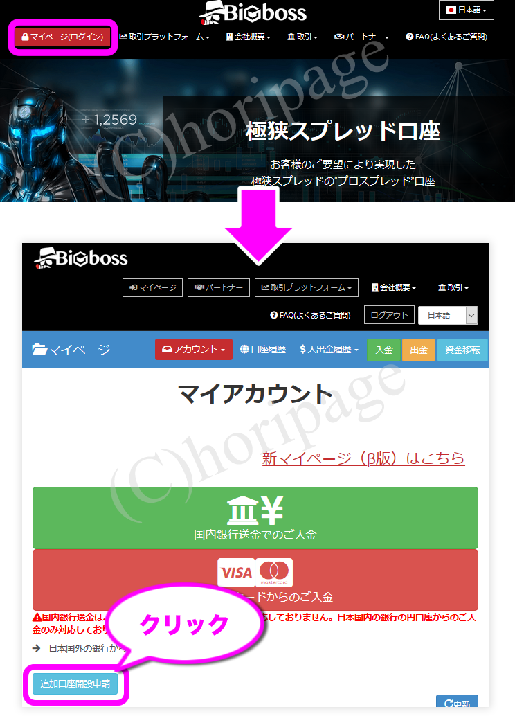 Bigboss追加口座開設の手順の図解